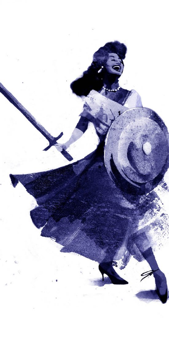 A woman smiles widely and walks confidently while holding a sword and a shield