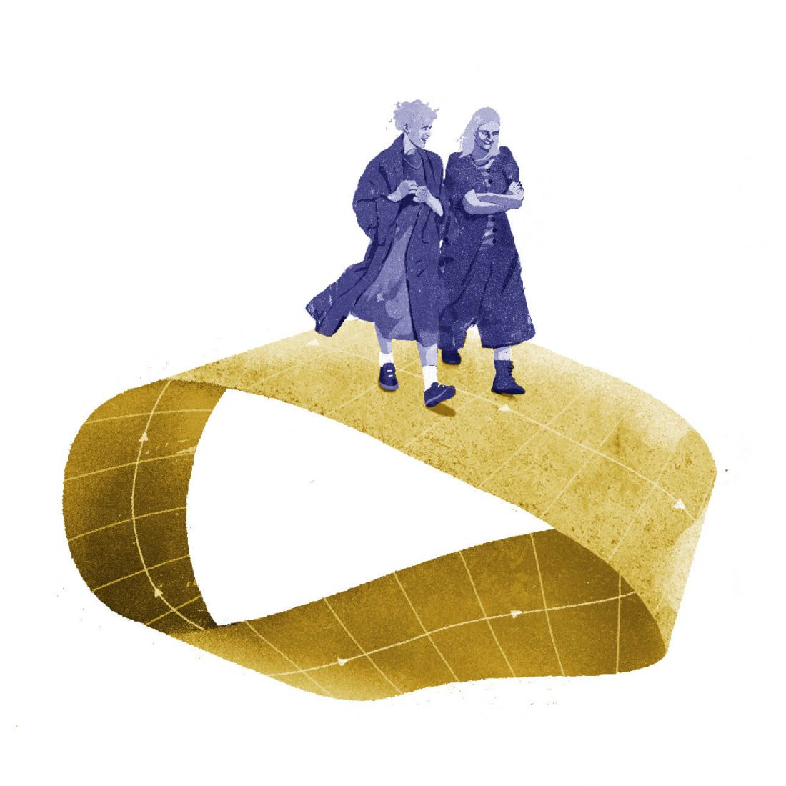 Two friends chat smiling while walking on a Moebius strip