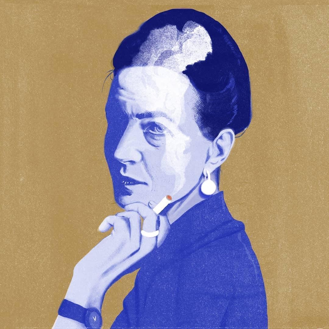 Illustration of Simone de Beauvoir by Silvia Celiberti