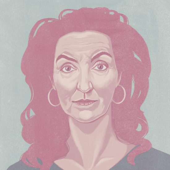 A portrait of rebecca Solnit with the reflection of a woman walking in her eyes.