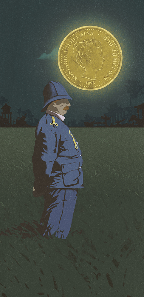 A general stands in a field in the Indonesian night, illuminated by the moon which is actually a dutch coin in the sky